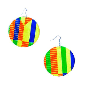 Yellow Kente African Print Earrings - Zabba Designs African Clothing Store