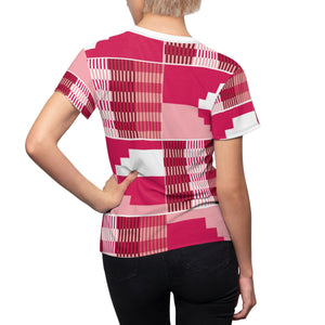 Spin Kente Women's African Print Polyester  Tee - Zabba Designs African Clothing Store