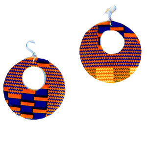 Orange Kente African Print And Wood Earrings - Zabba Designs African Clothing Store