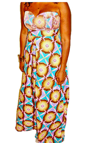 Pink Geometric African Print Maxi  Dress - Zabba Designs African Clothing Store