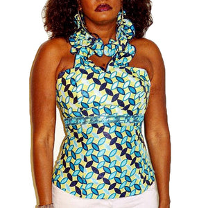 Weezie Blue Halter African Print Top - Zabba Designs African Clothing Store