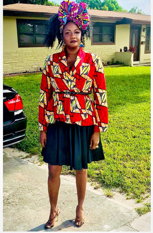 ACCRA RED BLAZER/TOP - Zabba Designs African Clothing Store
