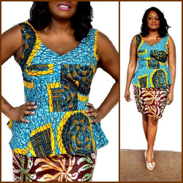 Candy African  Print Peplum Top - Zabba Designs African Clothing Store  - 3