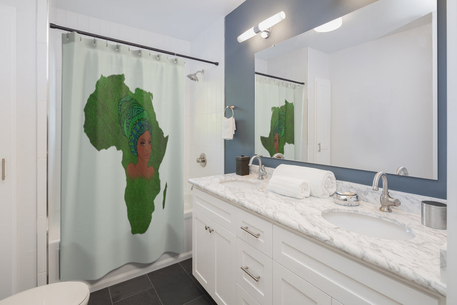 Green Mama Africa Shower Curtain - Zabba Designs African Clothing Store