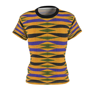 Kente Women's African Print Polyester  Tee - Zabba Designs African Clothing Store