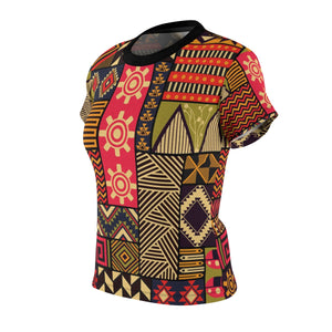 KEKE Women's African Print Polyester  Tee - Zabba Designs African Clothing Store