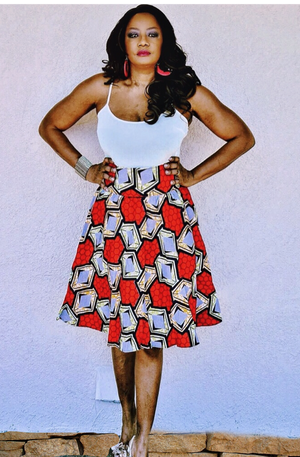 Red African Inspired Midi Skirt