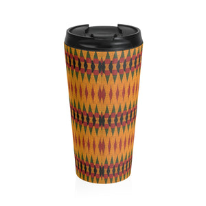 Orange Kente Print Stainless Steel Travel Mug - Zabba Designs African Clothing Store