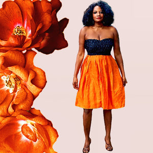 Sunny African Strapless Black Lace And Orange Linen Dress - Zabba Designs African Clothing Store