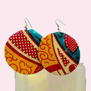 Orange African Women's Wood Earrings - Zabba Designs African Clothing Store