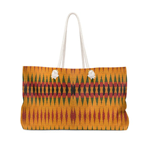 Orange Kente Print Weekender Bag