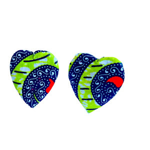 Green Ankara African Wood Earrings - Zabba Designs African Clothing Store