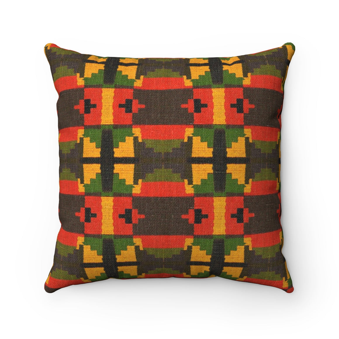 Kente Print Spun Polyester Square Pillow - Zabba Designs African Clothing Store