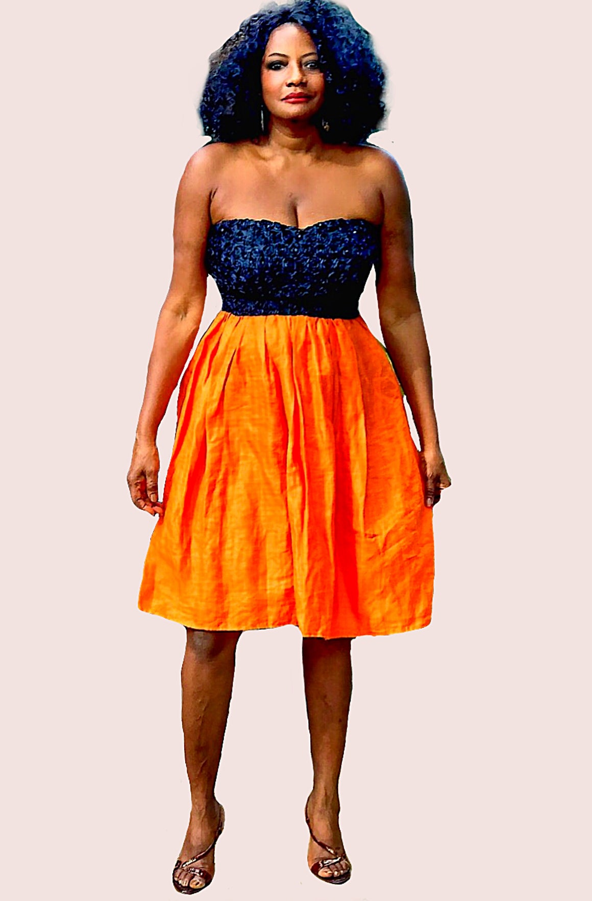 Strapless Black Lace And Orange Linen Dress