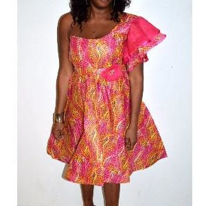 Pink African Ankara Print and Wooden  Dress - Zabba Designs African Clothing Store