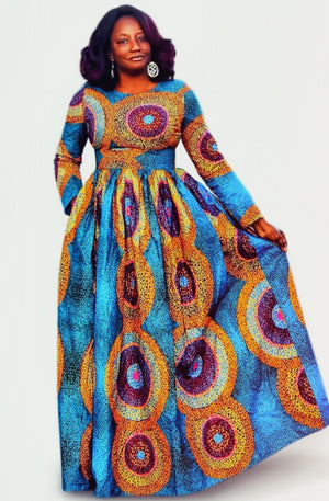 JUJU African Print Long Sleeve Maxi Dress - Zabba Designs African Clothing Store