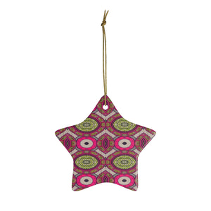 Green And Burgundy African Inspired Ceramic Ornaments - Zabba Designs African Clothing Store