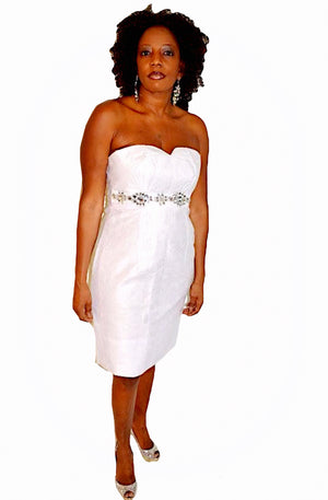Knee Length White Strapless Cocktail Dress - Zabba Designs African Clothing Store