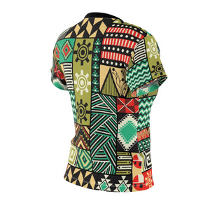 Ocean Women's African Print Polyester  Tee - Zabba Designs African Clothing Store