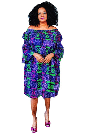 Ankara Print Off Shoulder Dress - Zabba Designs African Clothing Store