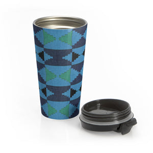 Blue Kente Print Stainless Steel Travel Mug - Zabba Designs African Clothing Store
