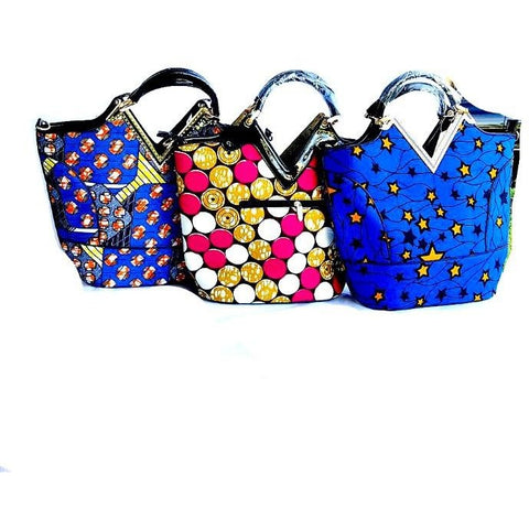 African Print Top Handle Tote Blue - Zabba Designs African Clothing Store