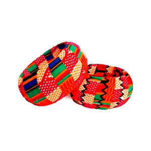 Orange Large Wood African Fabric Bangles