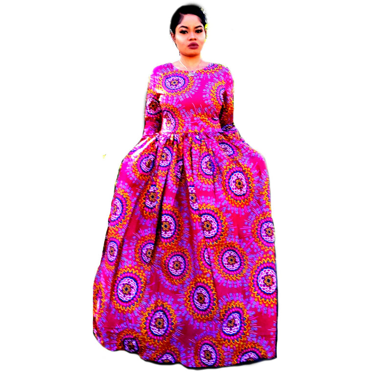 AKU African Print Long Sleeve Maxi Dress - Zabba Designs African Clothing Store  - 1