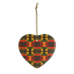 Traditional Ghana Kente Green, Yellow And Orange Ceramic Ornaments - Zabba Designs African Clothing Store