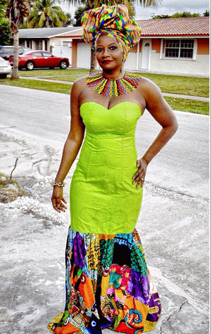 STRAPLESS GREEN FLORAL PRINT DRESS - Zabba Designs African Clothing Store