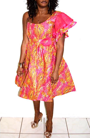 Pink African Print Wooden  Dress - Zabba Designs African Clothing Store