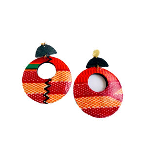 African Statement Wood Earrings - Zabba Designs African Clothing Store