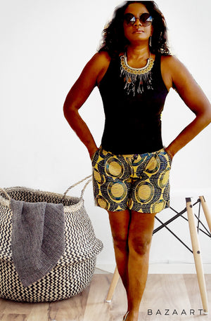 YAWA African Print Shorts - Zabba Designs African Clothing Store