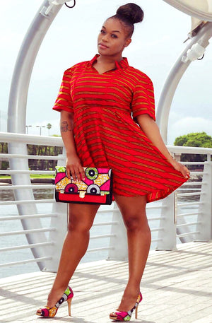 Red African Print Mini Dress