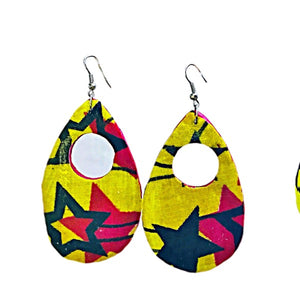 Pink And Yellow African Fabric Cover Earrings - Zabba Designs African Clothing Store
