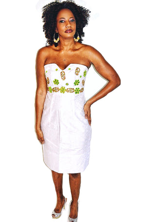 Strapless White Linen African print Dress