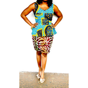 Candy African  Print Peplum Top - Zabba Designs African Clothing Store