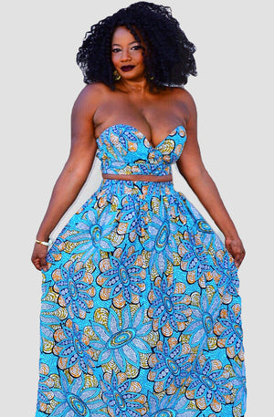 Sama African Print Maxi Set - Zabba Designs African Clothing Store