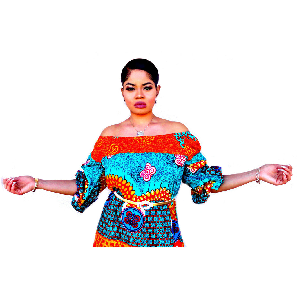 ZULU African Print Off Shoulder Balloon Maxi Dress - Zabba Designs African Clothing Store  - 2