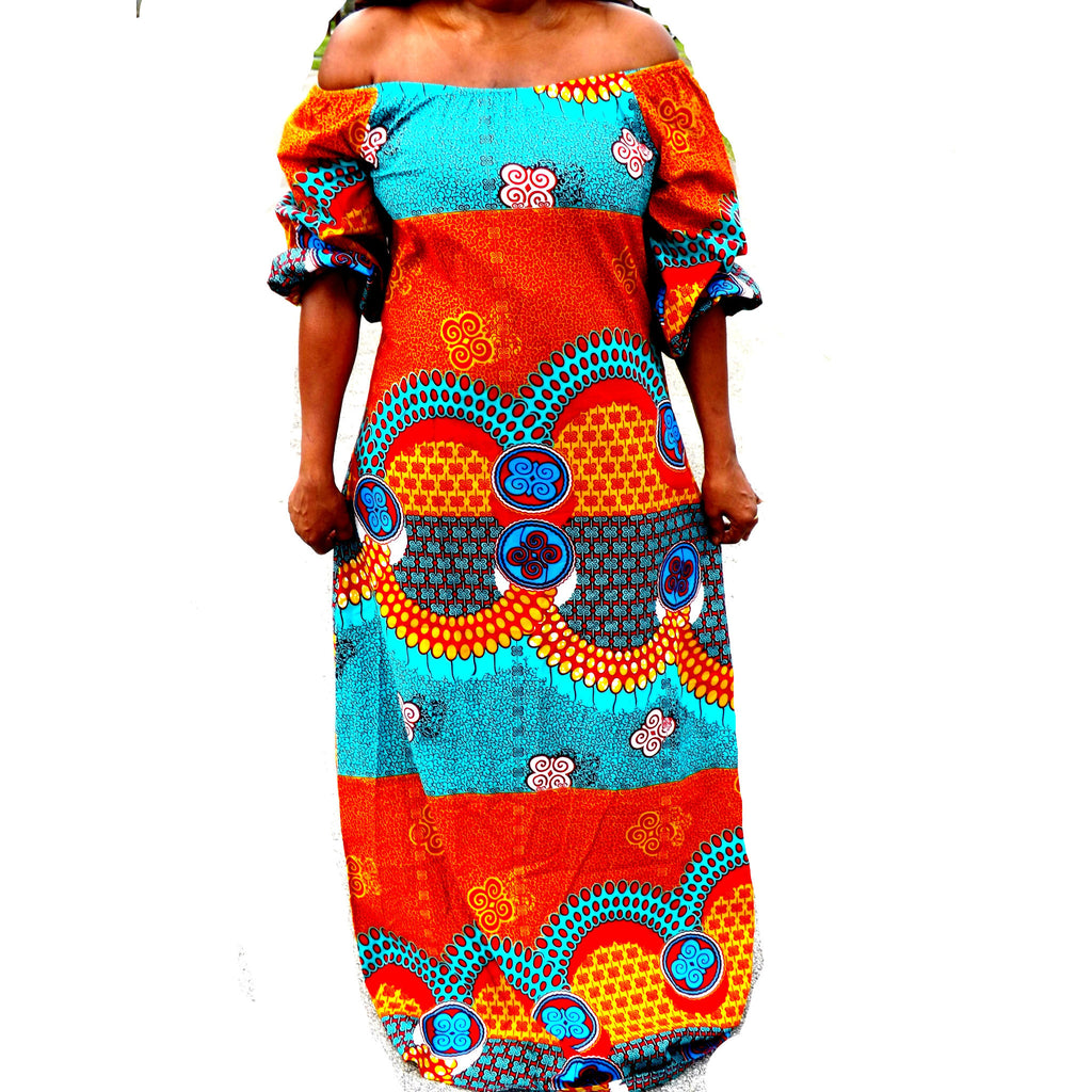 ZULU African Print Off Shoulder Balloon Maxi Dress - Zabba Designs African Clothing Store  - 3