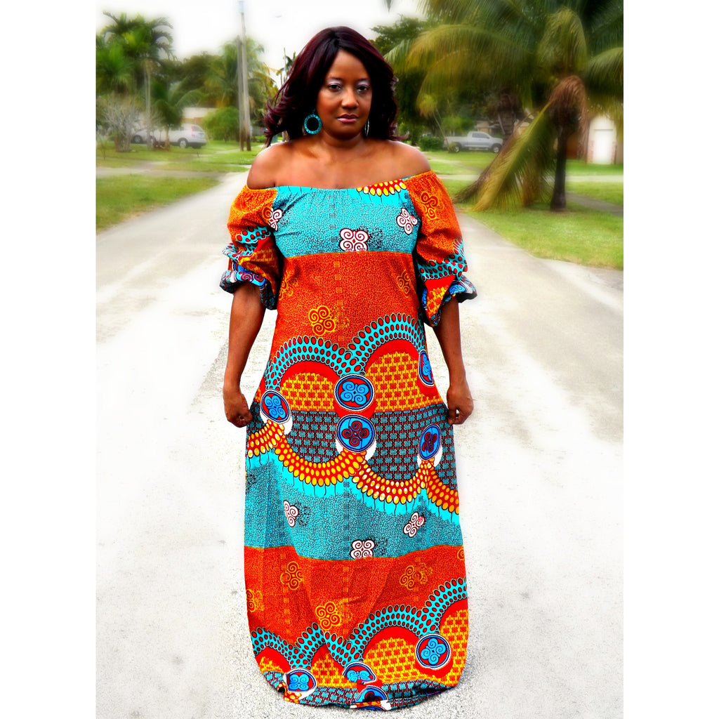 ZULU African Print Off Shoulder Balloon Maxi Dress - Zabba Designs African Clothing Store  - 4