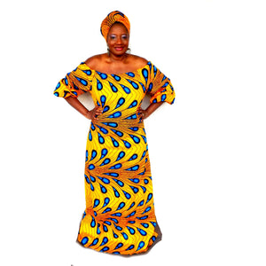 ABI African Print Balloon Maxi Dress With Head wrap - Zabba Designs African Clothing Store