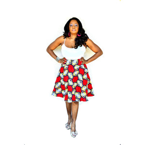 Red Midi Skirt - Zabba Designs African Clothing Store