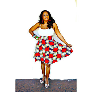 Red African Inspired Midi Skirt - Zabba Designs African Clothing Store