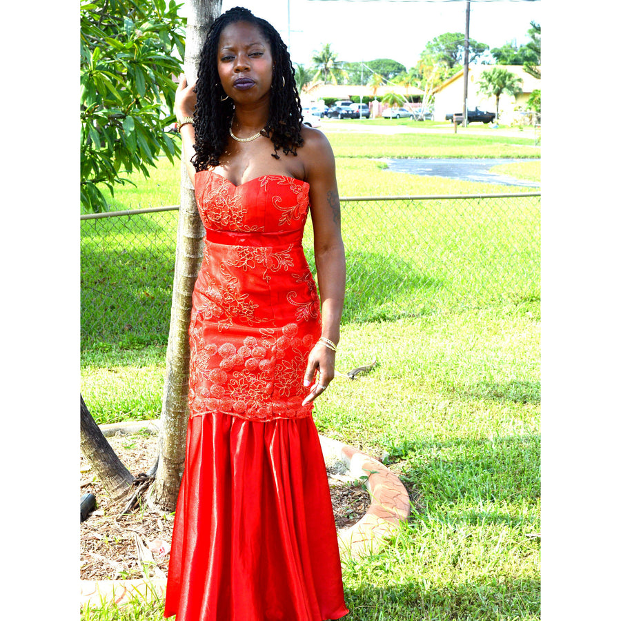 FIERY RED STRAPLESS LACE EVENING GOWN - Zabba Designs African Clothing Store