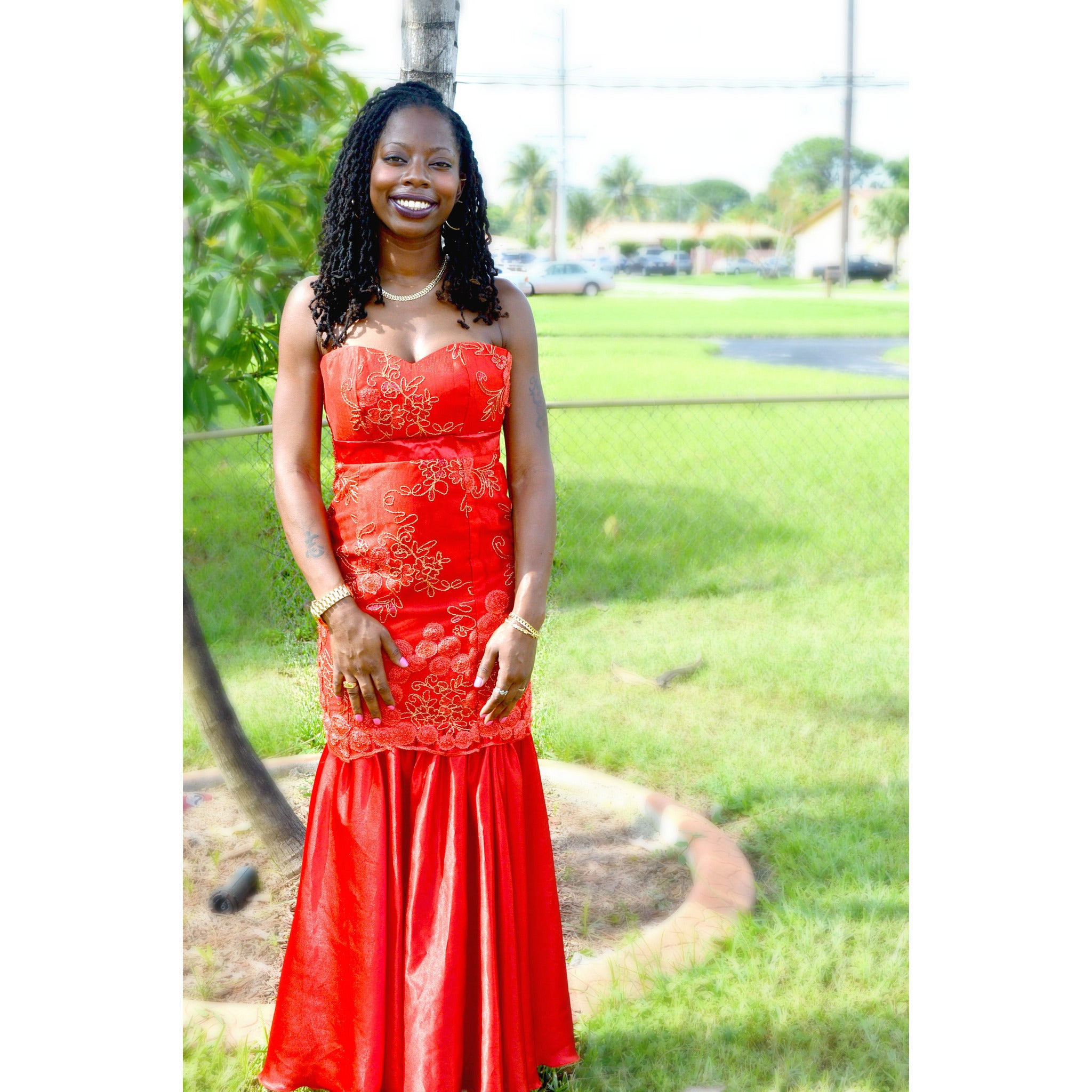 FIERY RED STRAPLESS LACE EVENING GOWN