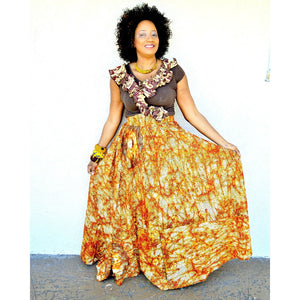 Khaki High Waist Maxi Skirt - Zabba Designs African Clothing Store