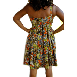 African Print One Shoulder Green Dress - Zabba Designs African Clothing Store