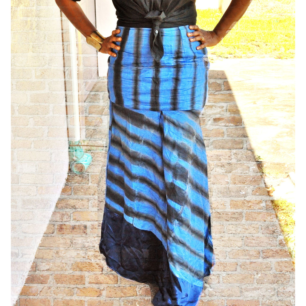 DAISY Blue African Print Maxi Skirt - Zabba Designs African Clothing Store