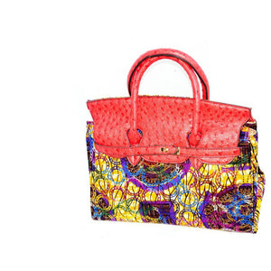 Gold Ankara Wax Print Bag, The Nini  Bag - Zabba Designs African Clothing Store